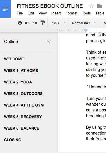 image of Rachel's ebook outline in Google Docs