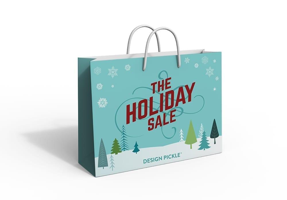 blue holiday shopping bag design