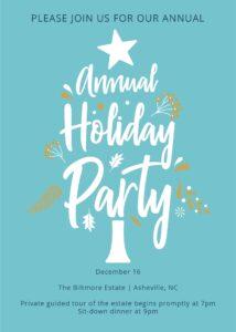 Holiday Party invitation blue