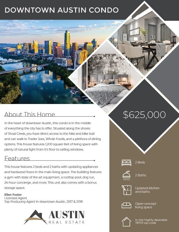 downtown Austin condo real estate flyer