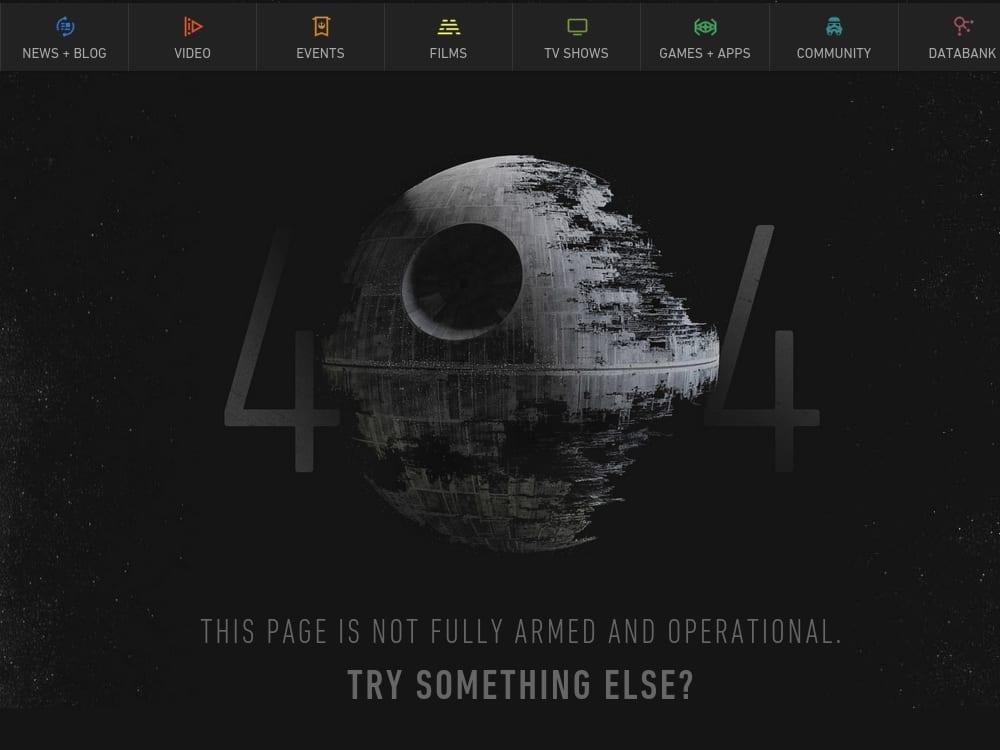 star wars 404 page design