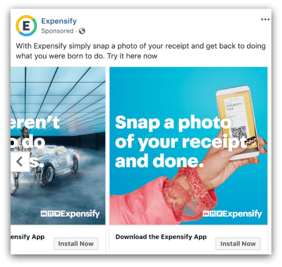 Expensify Facebook ad