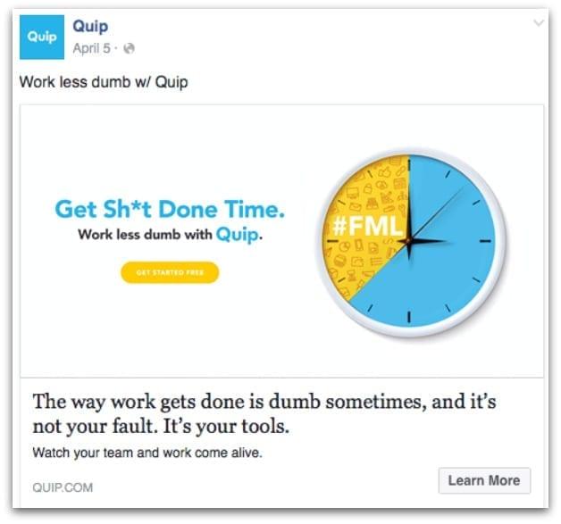 Quip Facebook ad