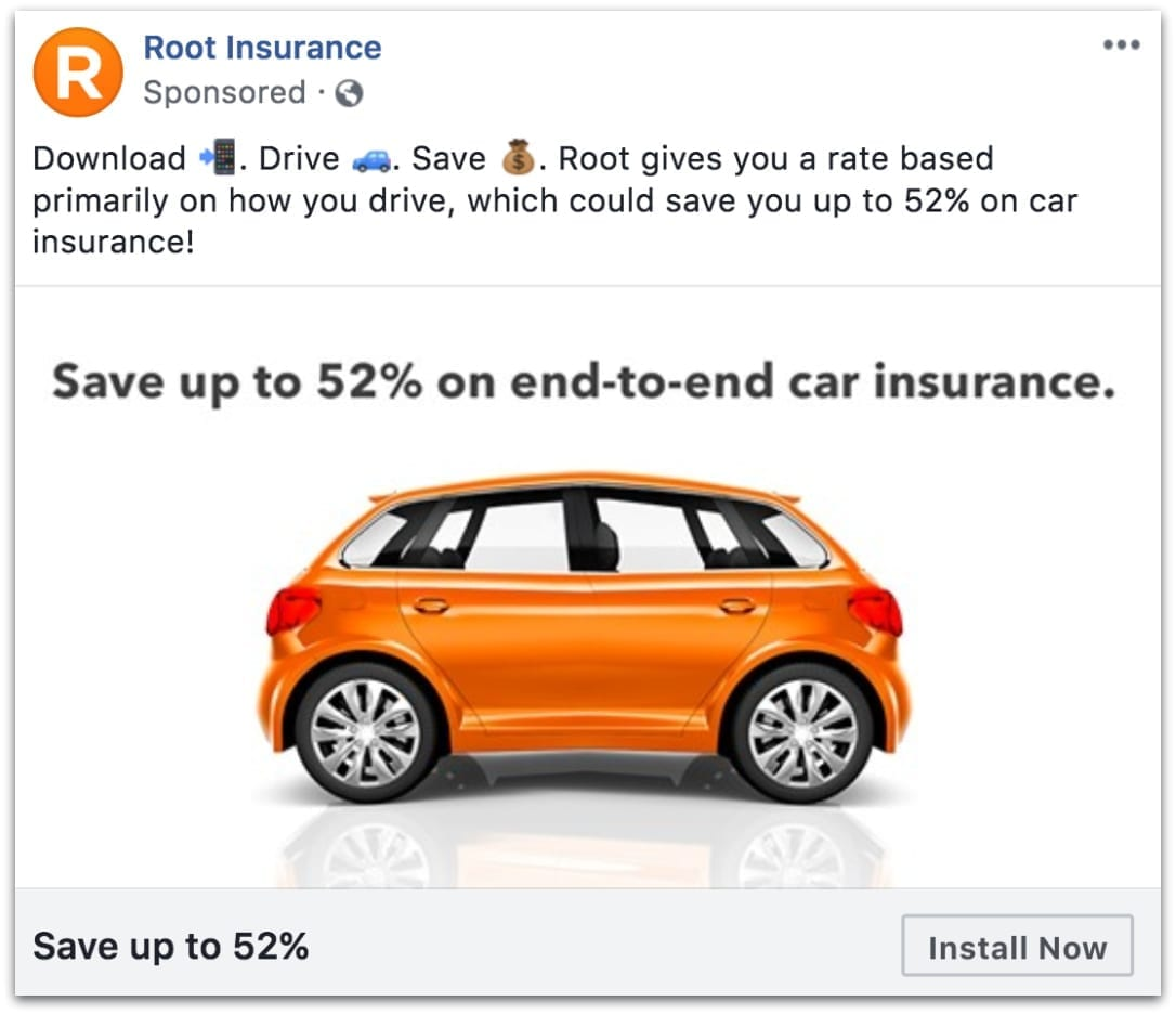 Root Insurance Facebook ad