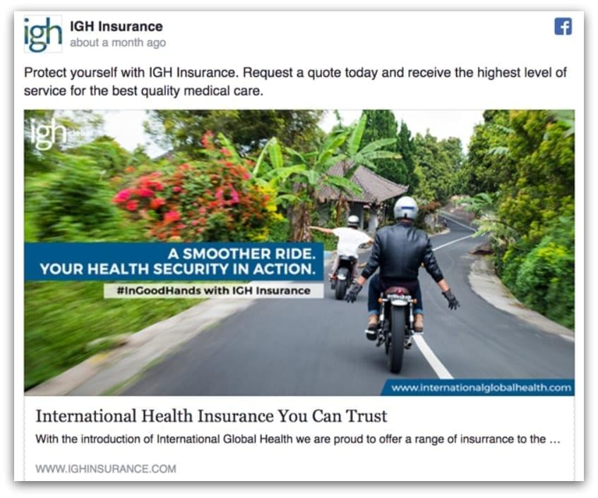 IGH Insurance Facebook ad