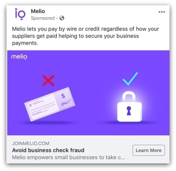 Melio Facebook ad