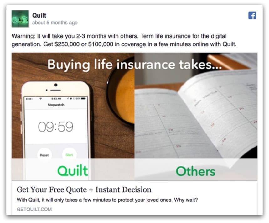 Quilt Facebook ad