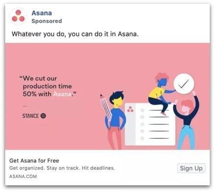 Asana Facebook ad example