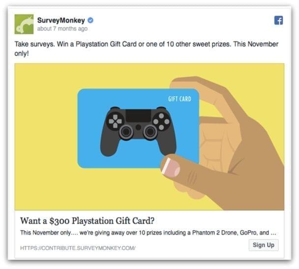 SurveyMonkey Facebook ad