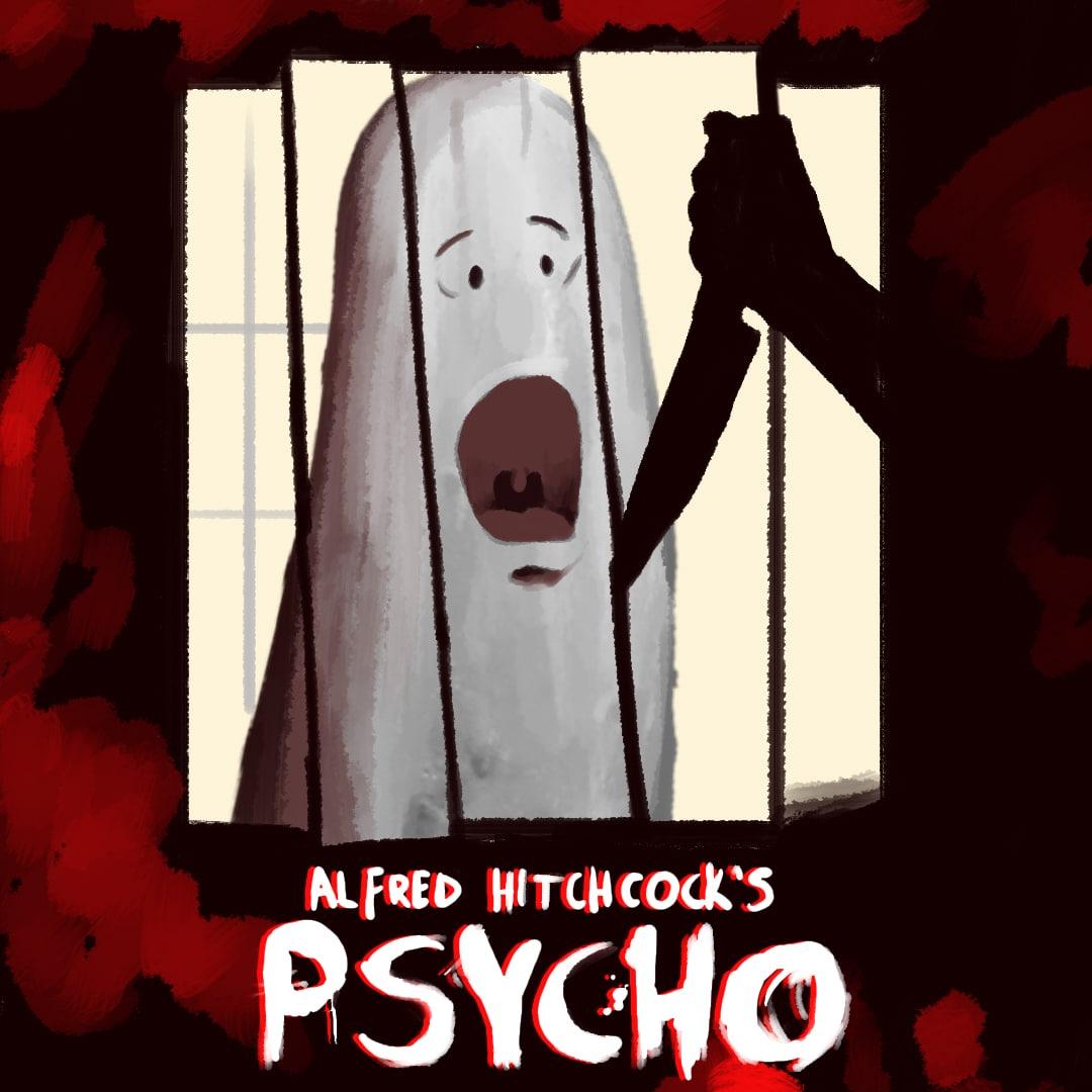 Psycho movie poster using Custom Illustrations