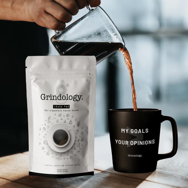 Grindology coffee and mug